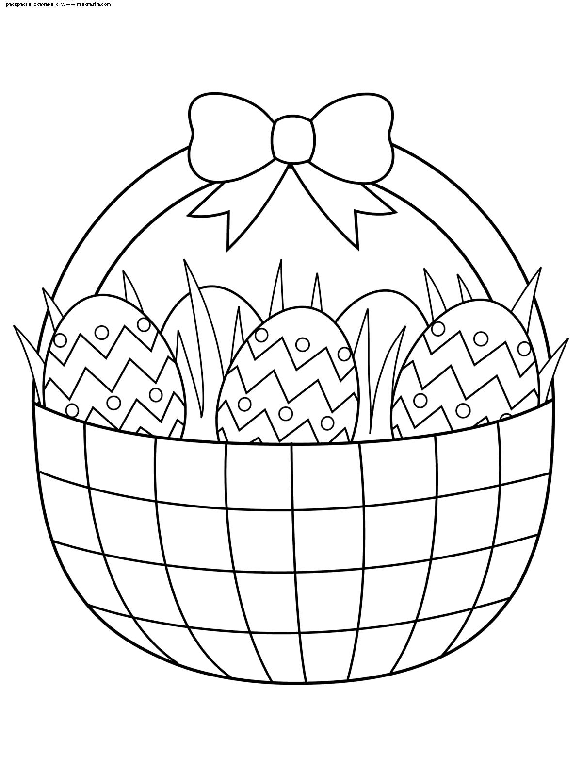 Раскраска Пасхальная корзинка. Раскраска пасха, яйца