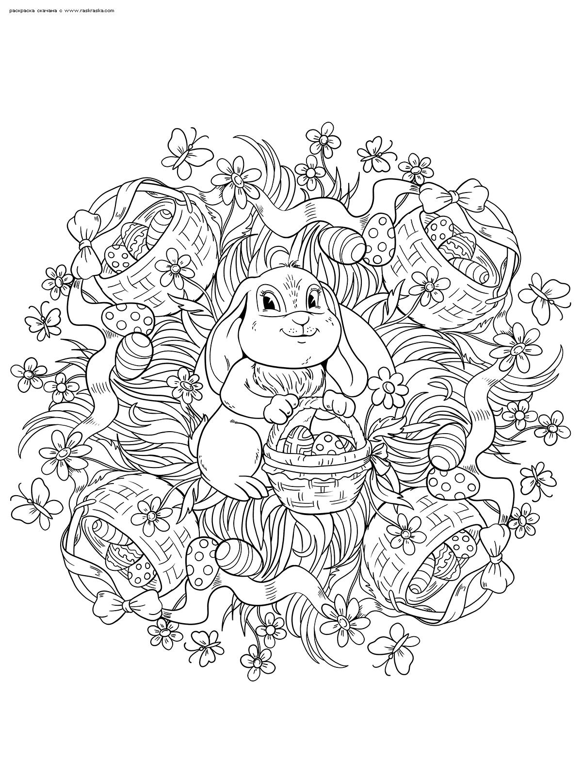 Раскраска Пасхальный кролик | Раскраски антистресс к Пасхе ...