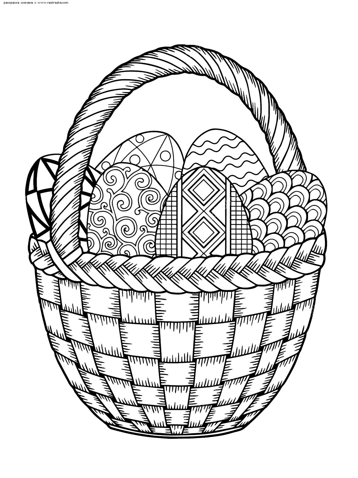 Раскраска Корзина с Пасхальными яйцами. Раскраска Пасха, яйца, корзина