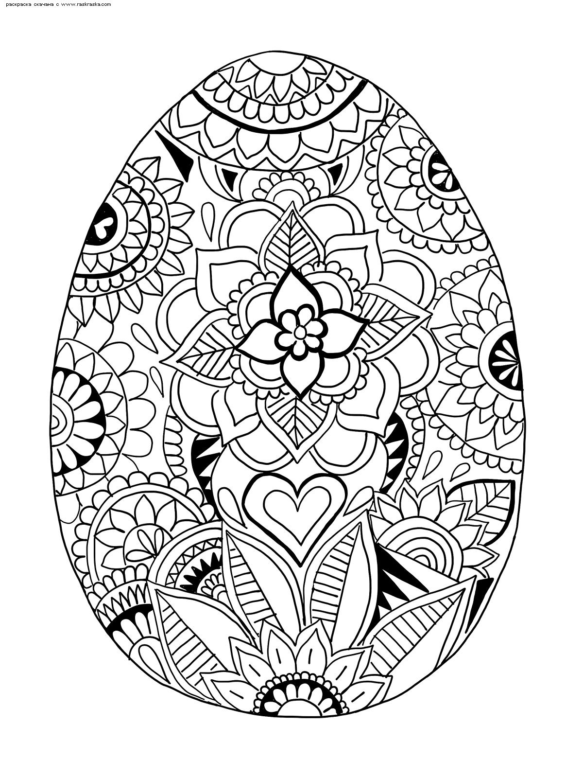 Раскраска Пасхальное яйцо | Раскраски антистресс к Пасхе ...