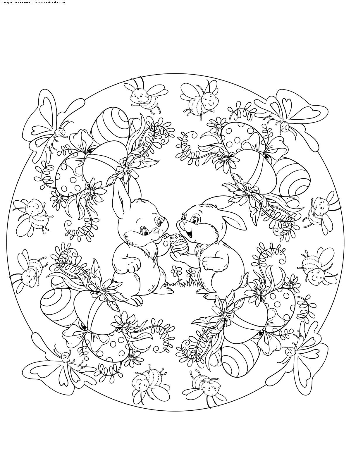 Раскраска Пасхальные кролики. Раскраска Пасха, кролик, мандала