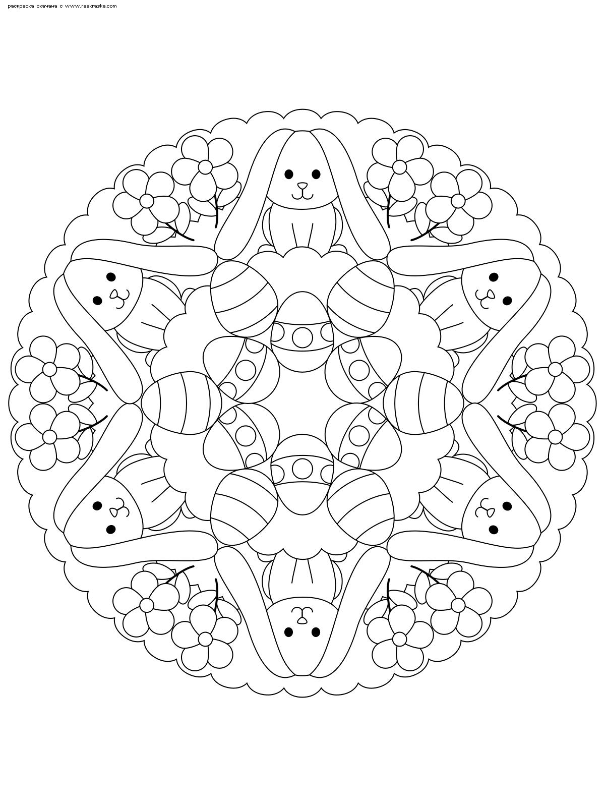 Раскраска Мандала Пасхальные кролики. Раскраска мандала, кролик, Пасха