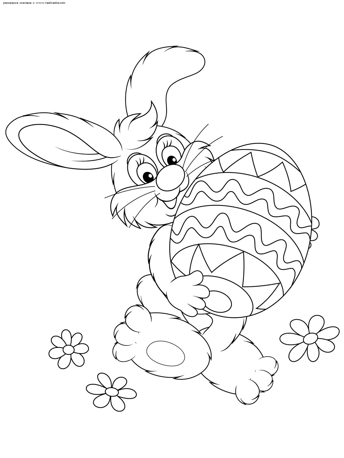 Раскраска Пасхальный кролик. Раскраска пасха, кролик, яйцо