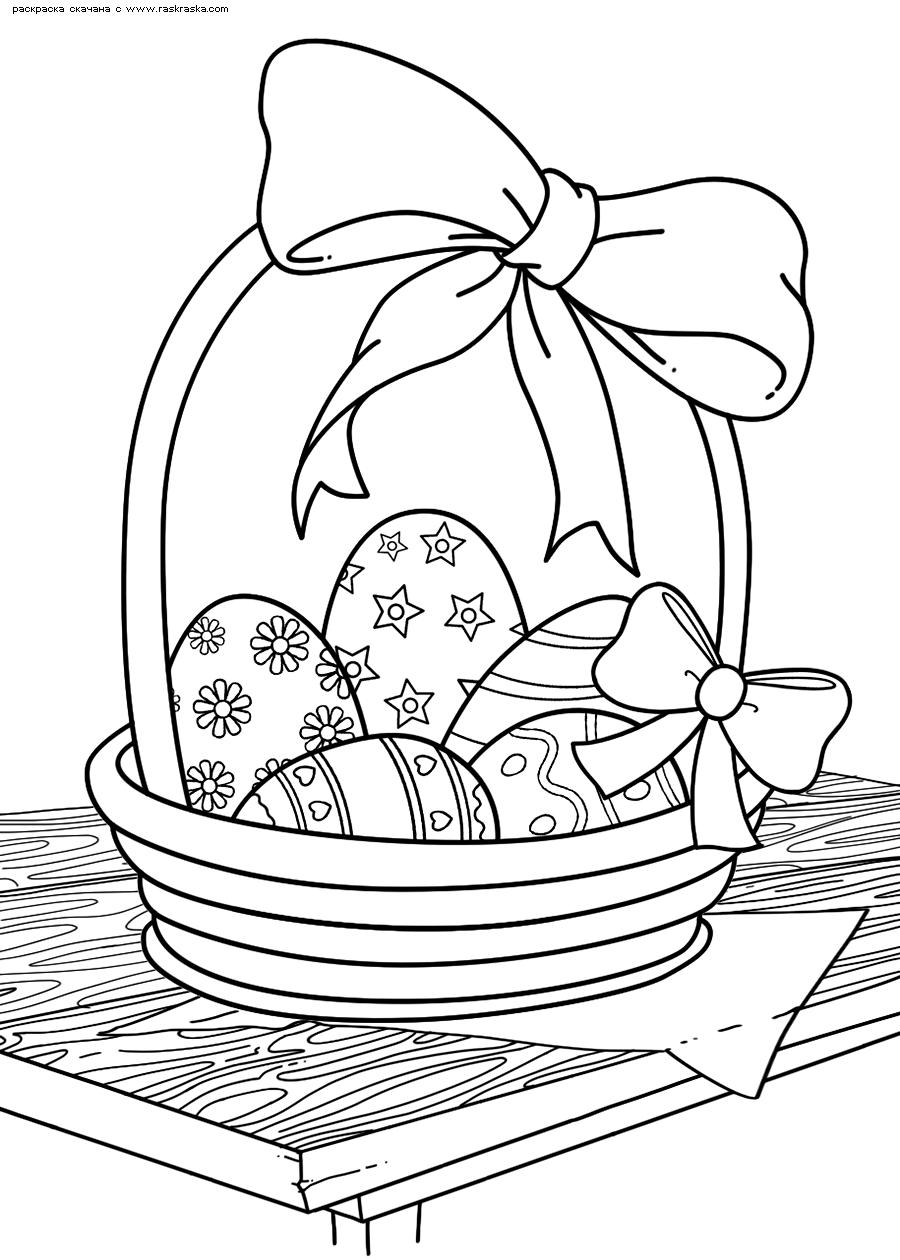 Раскраска Пасхальная корзинка. Раскраска корзина, яйца, пасха