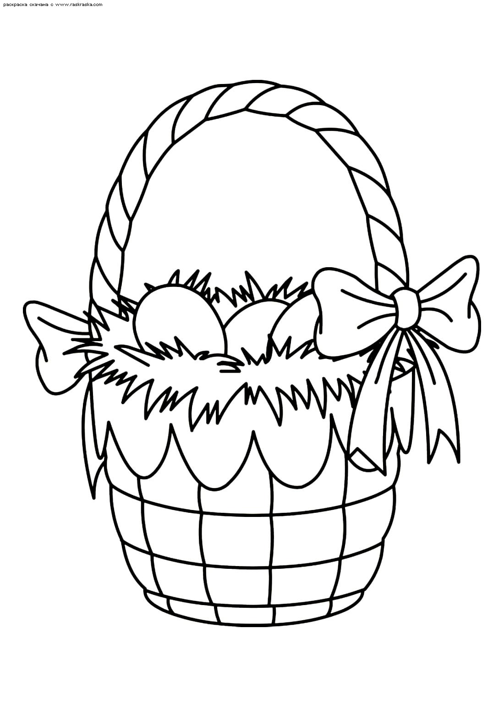 Раскраска Корзина с пасхальными яйцами. Раскраска корзина, яйца, пасха