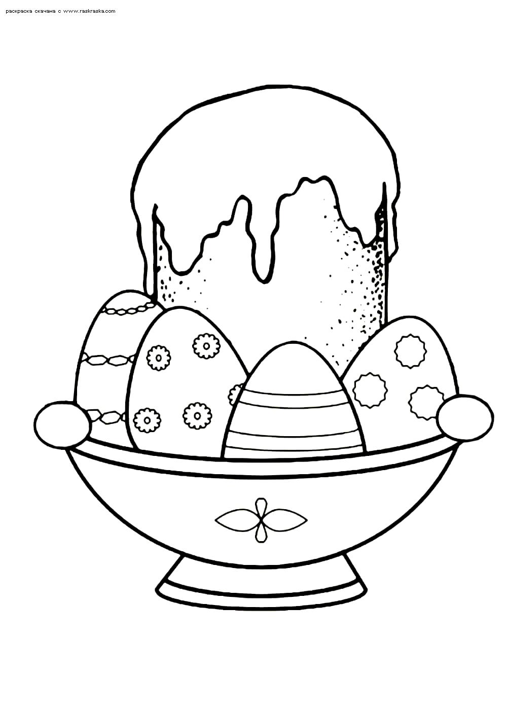 Раскраска Угощение на Пасху. Раскраска пасха, кулич, яйца
