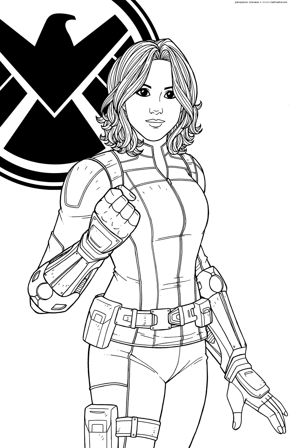 Раскраска Агент Щ.И.Т. Дейзи Джонсон. Раскраска Персонаж комиксов  супергероиня «Marvel Comics», гениальный хакер, Скай