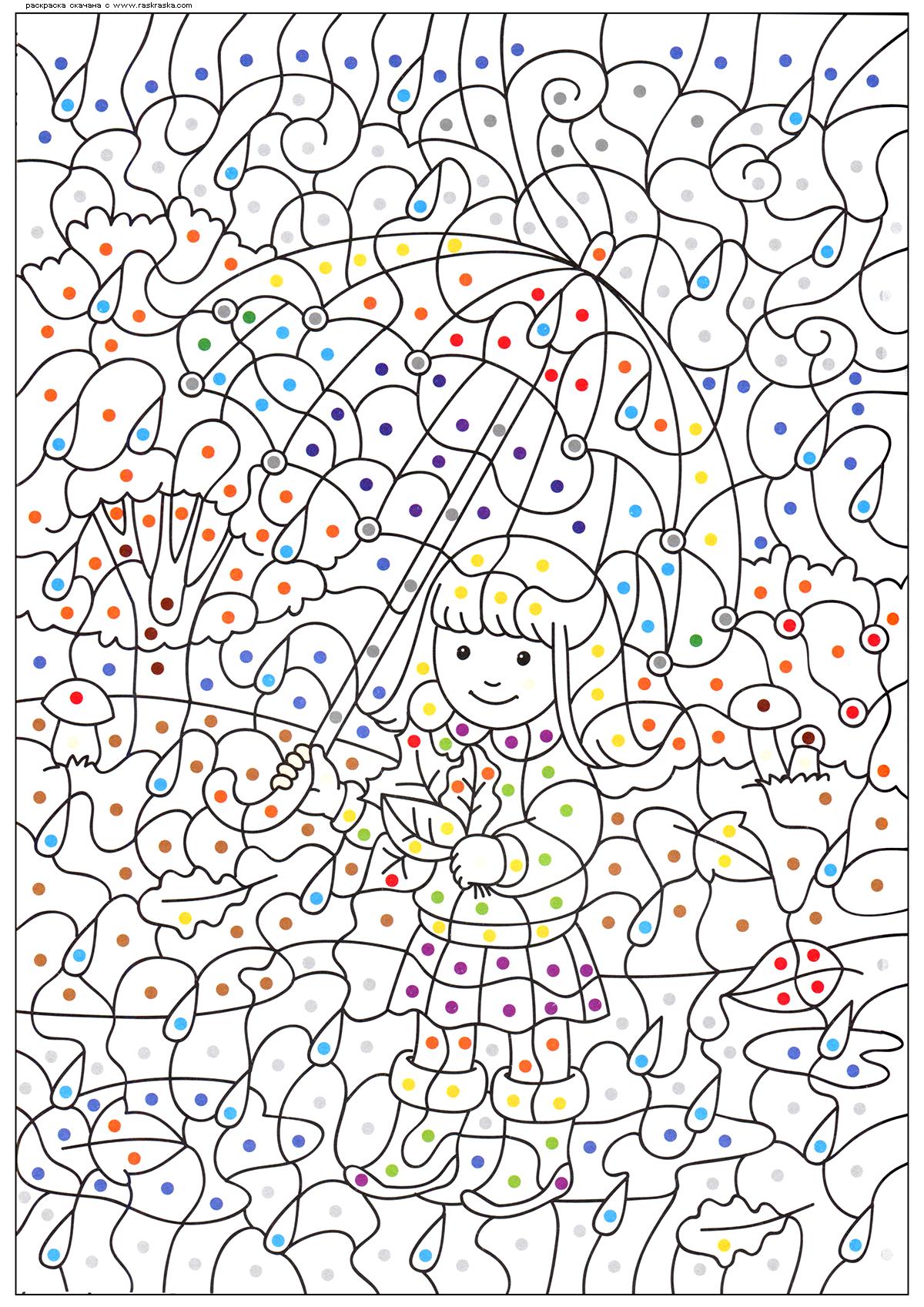 Раскраска Девочка под зонтом. Раскраска