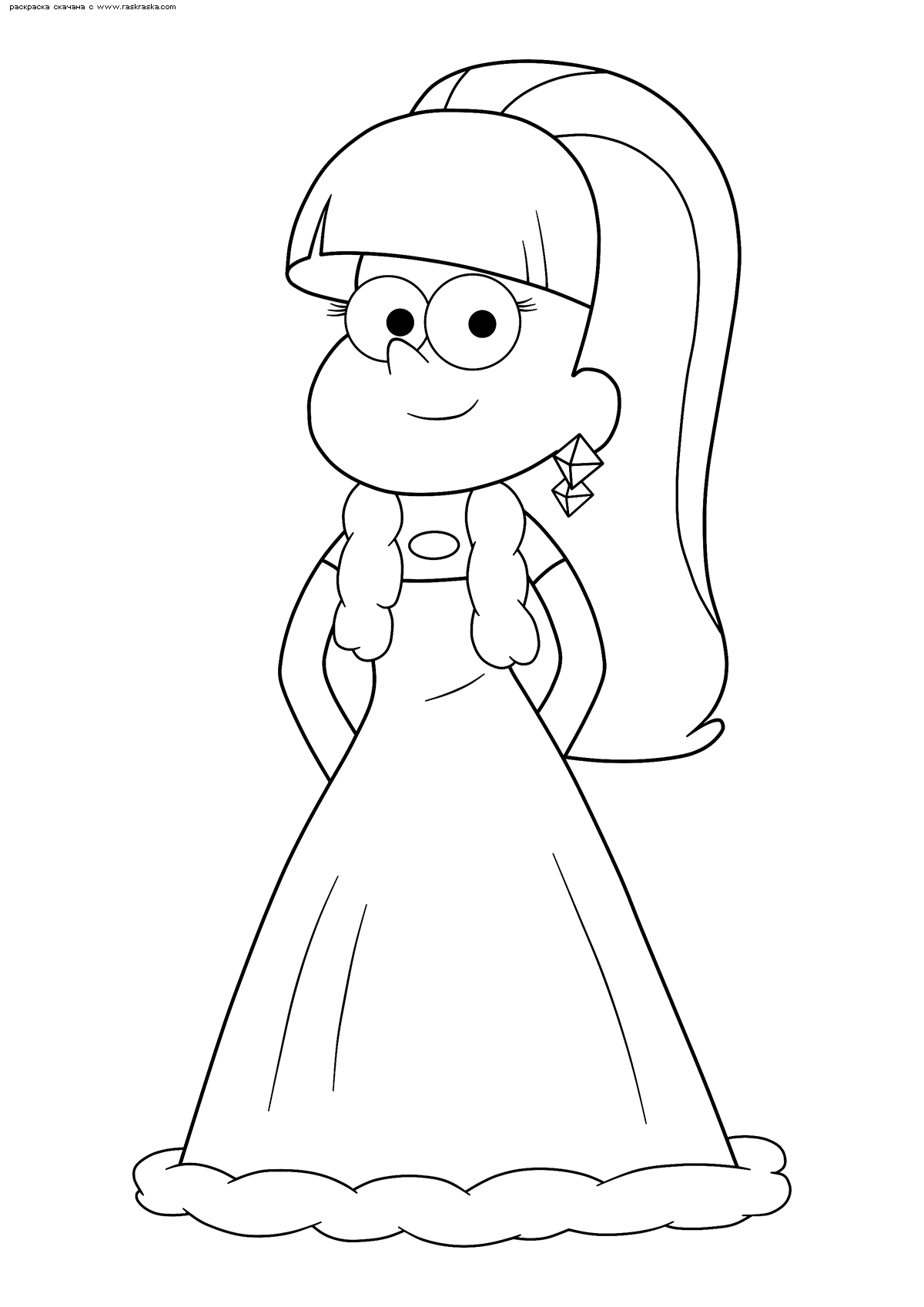 Раскраска Пасифика в платье. Раскраска Девочка