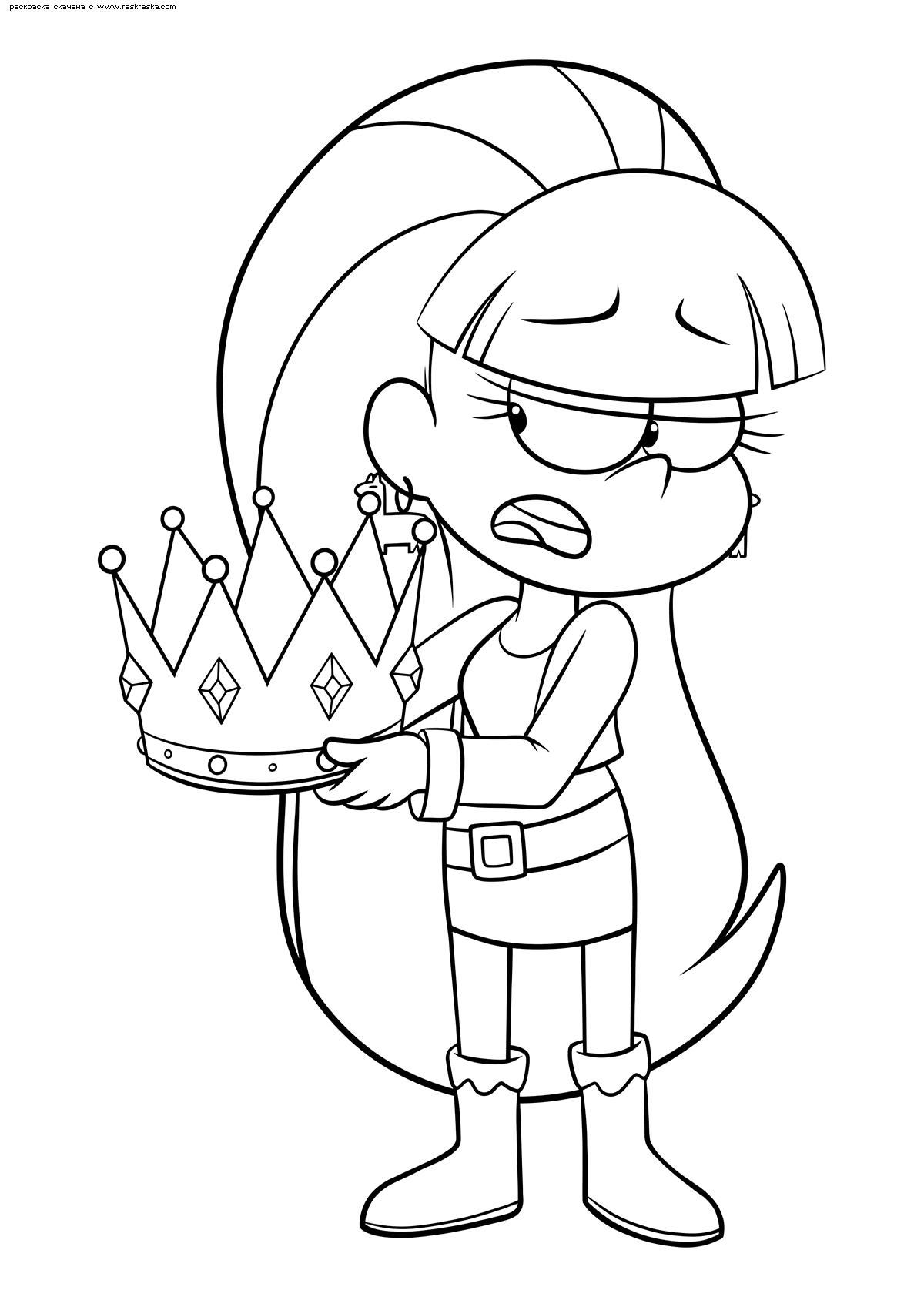 Раскраска Пасифика с короной. Раскраска Девочка