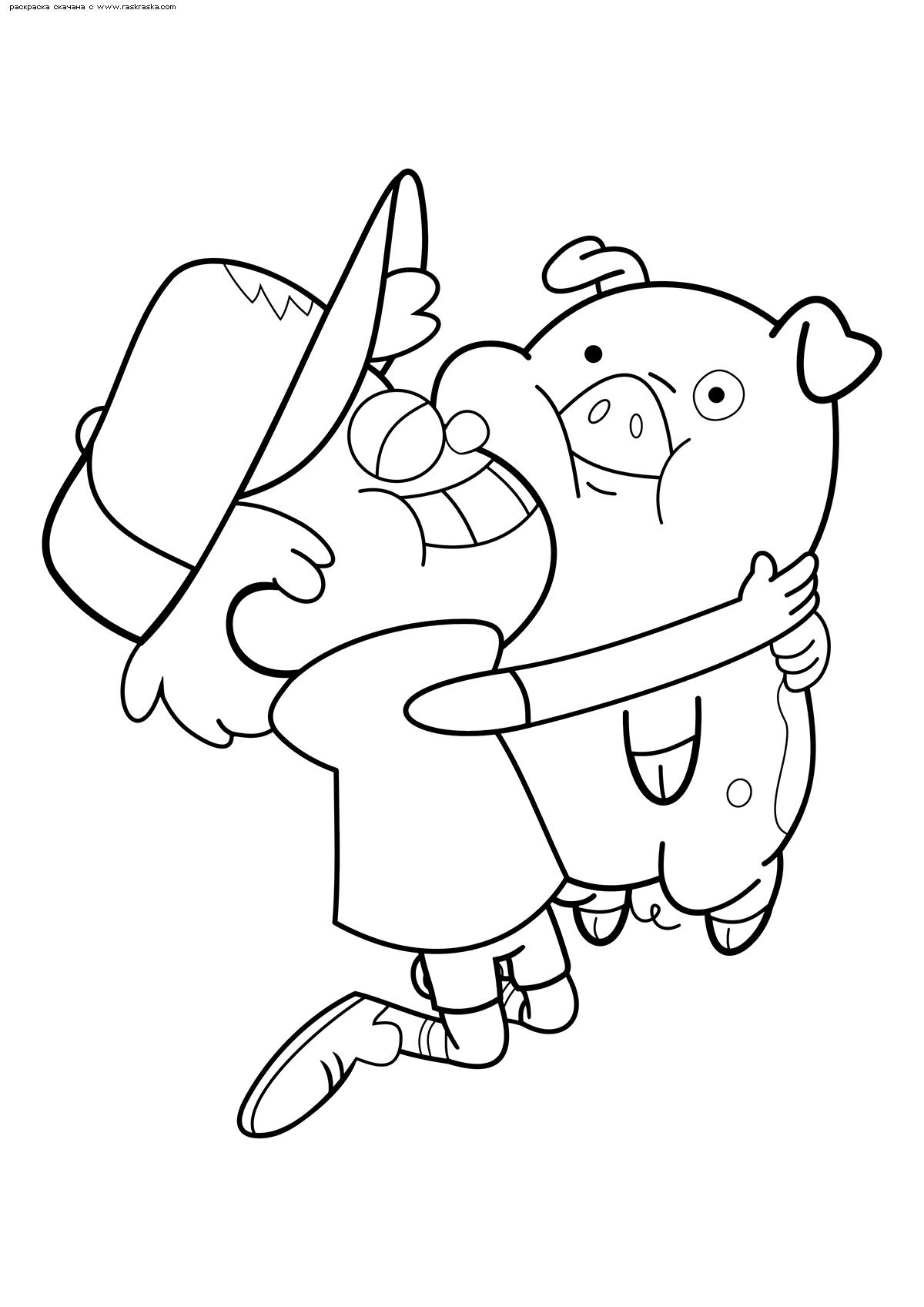 Раскраска Диппер и Пухля. Раскраска Мальчик из Гравити Фолз, свинка из Гравити Фолз