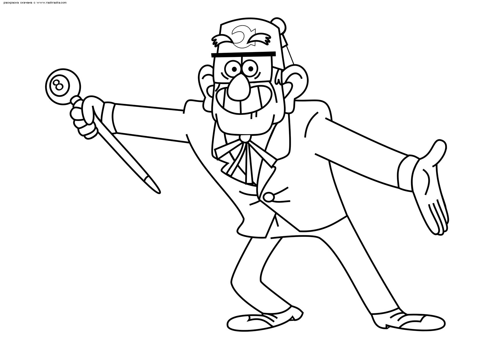 Раскраска Дядя Стэн. Раскраска Дедушка из Гравити Фолз