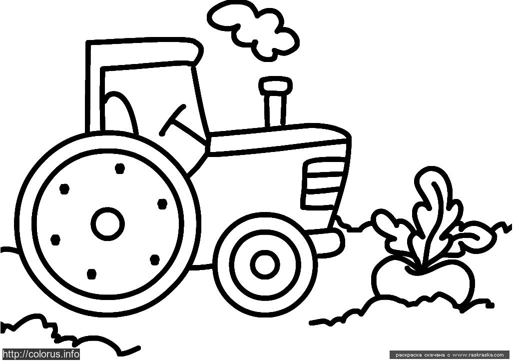 Трактор раскраска для самых маленьких