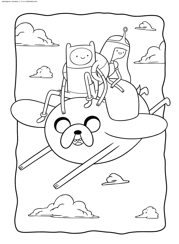Раскраска Джейк, Финн и принцесса Бубльгум. Раскраска Время приключений
