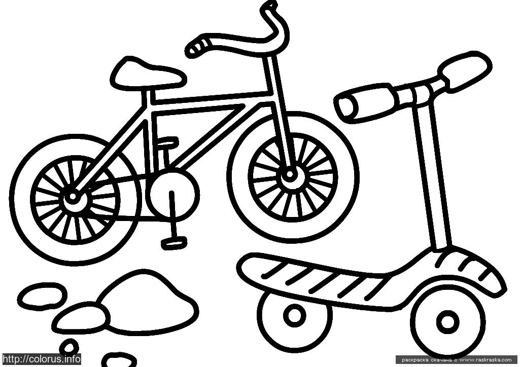 Картинки раскраски велосипед