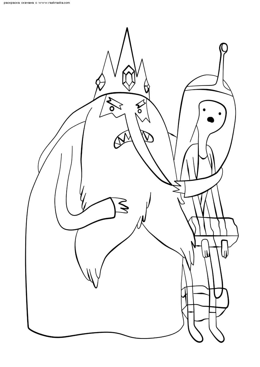 Раскраска Марселин в плену у Ледяного Короля. Раскраска Время приключений