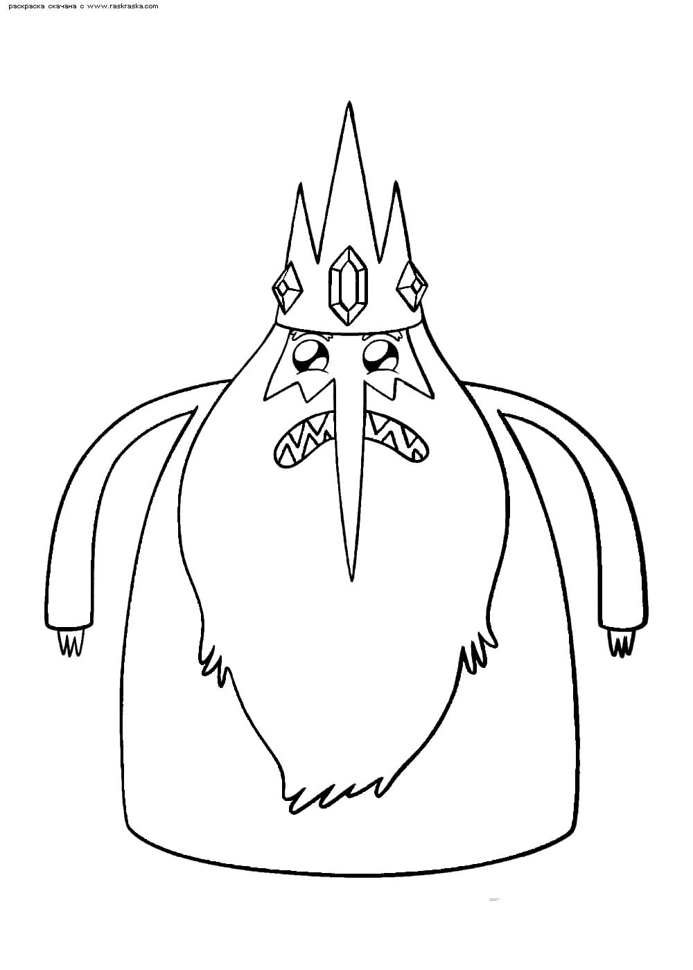 Раскраска Ледяной Король. Раскраска Снежный Король, мультфильм Время приключений