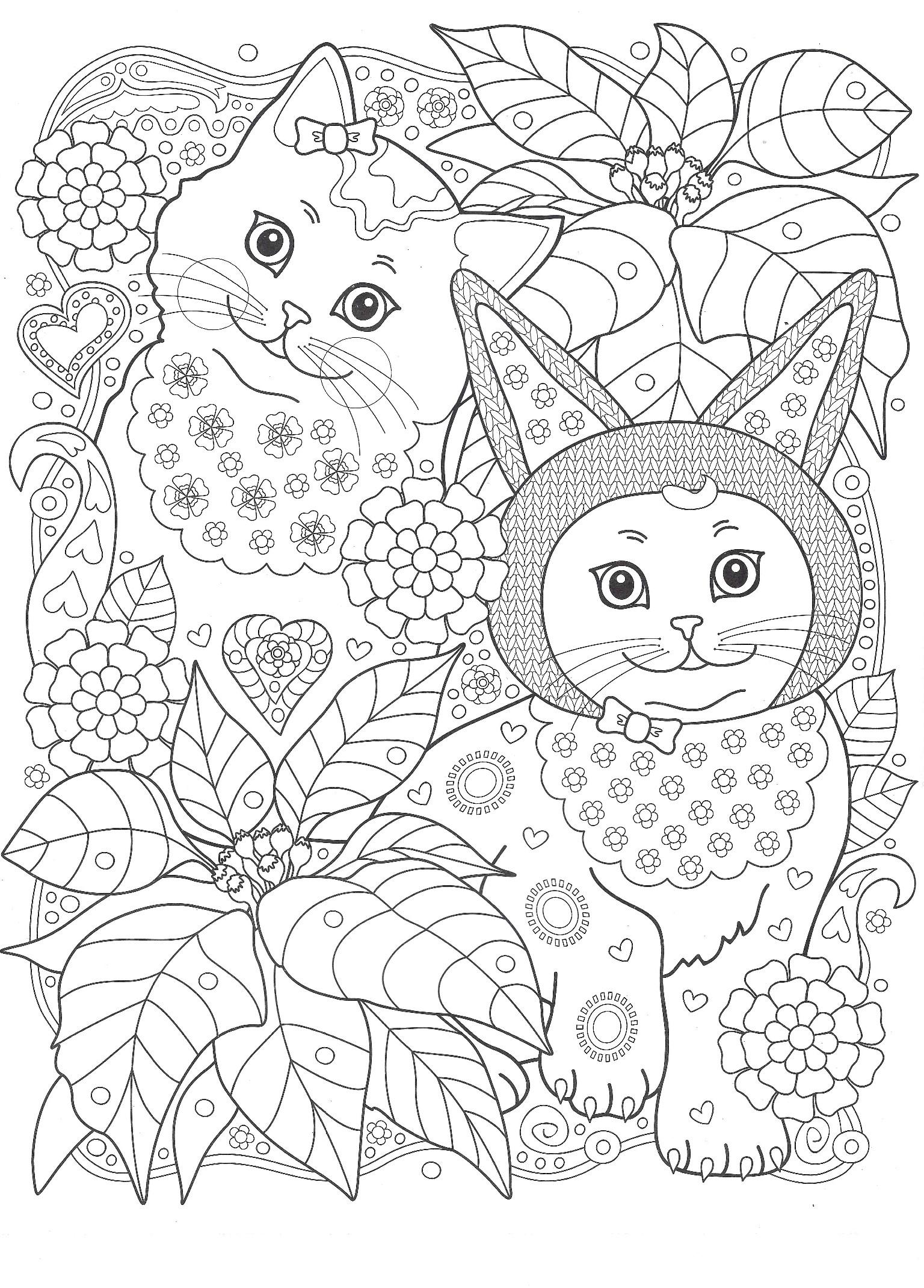 Раскраска Кошки в саду. Раскраска кошка, антистресс