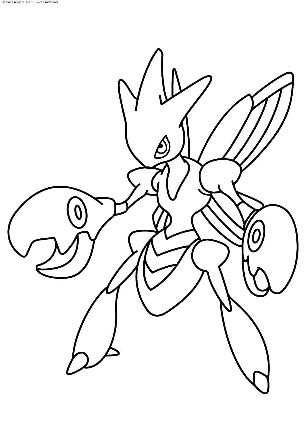Раскраска Покемон Сизор (Scizor) | Раскраски эволюция ...