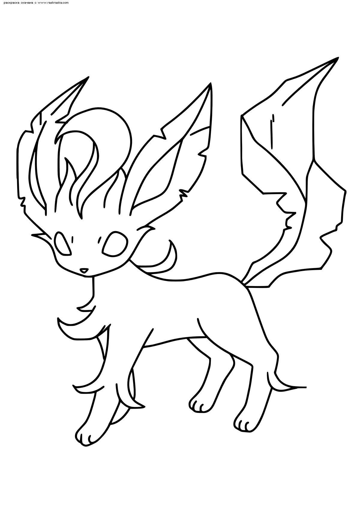 Раскраска Покемон Лифеон (Leafeon) | Раскраски эволюция ...