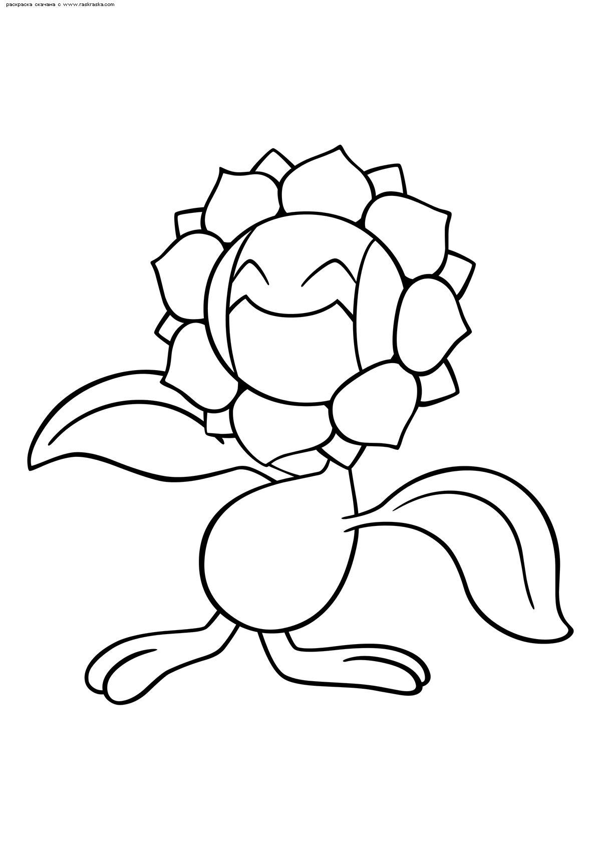Раскраска Покемон Санфлора (Sunflora) | Раскраски эволюция ...