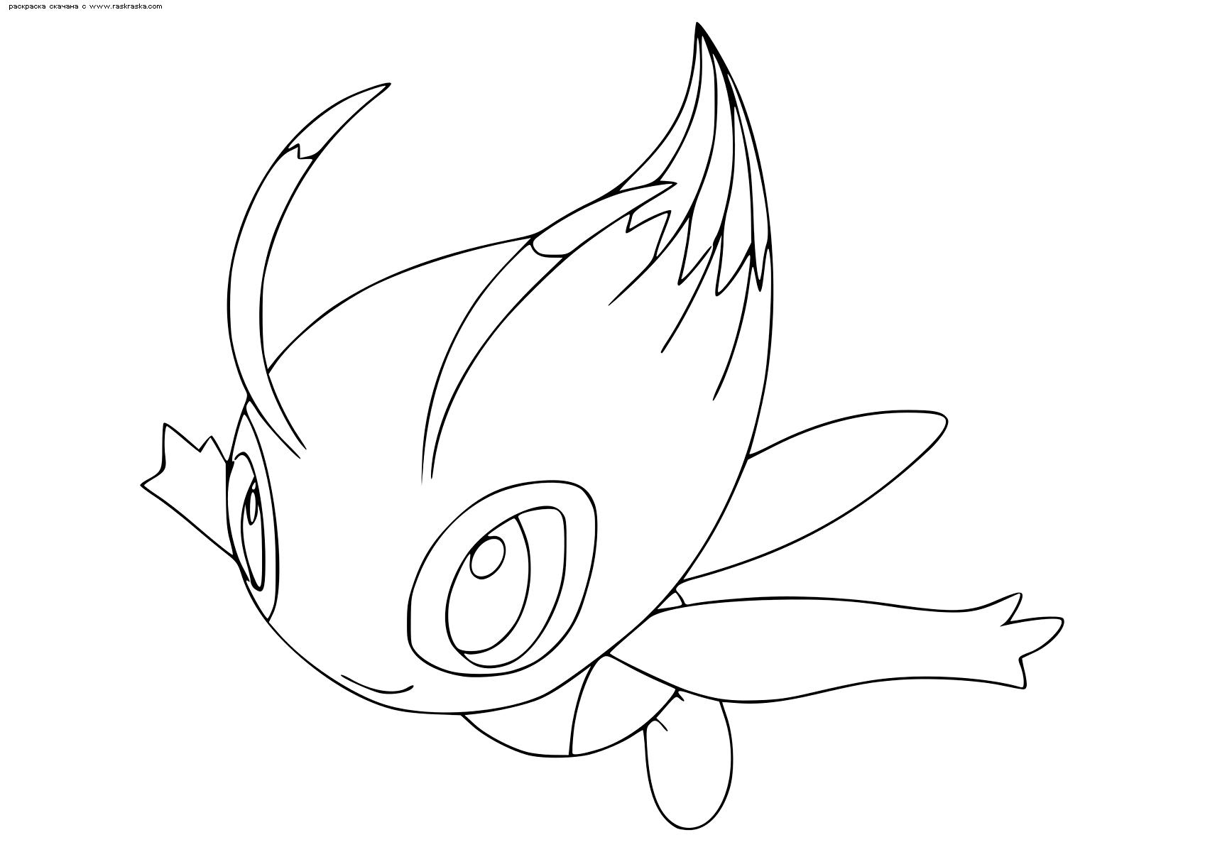 Раскраска Легендарный покемон Селеби (Celebi). Раскраска Покемон