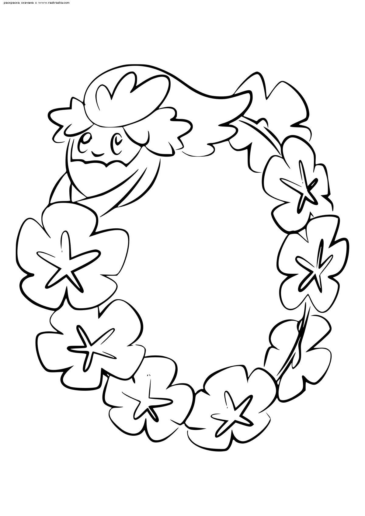 Раскраска Покемон Комфи (Comfey). Раскраска Покемон