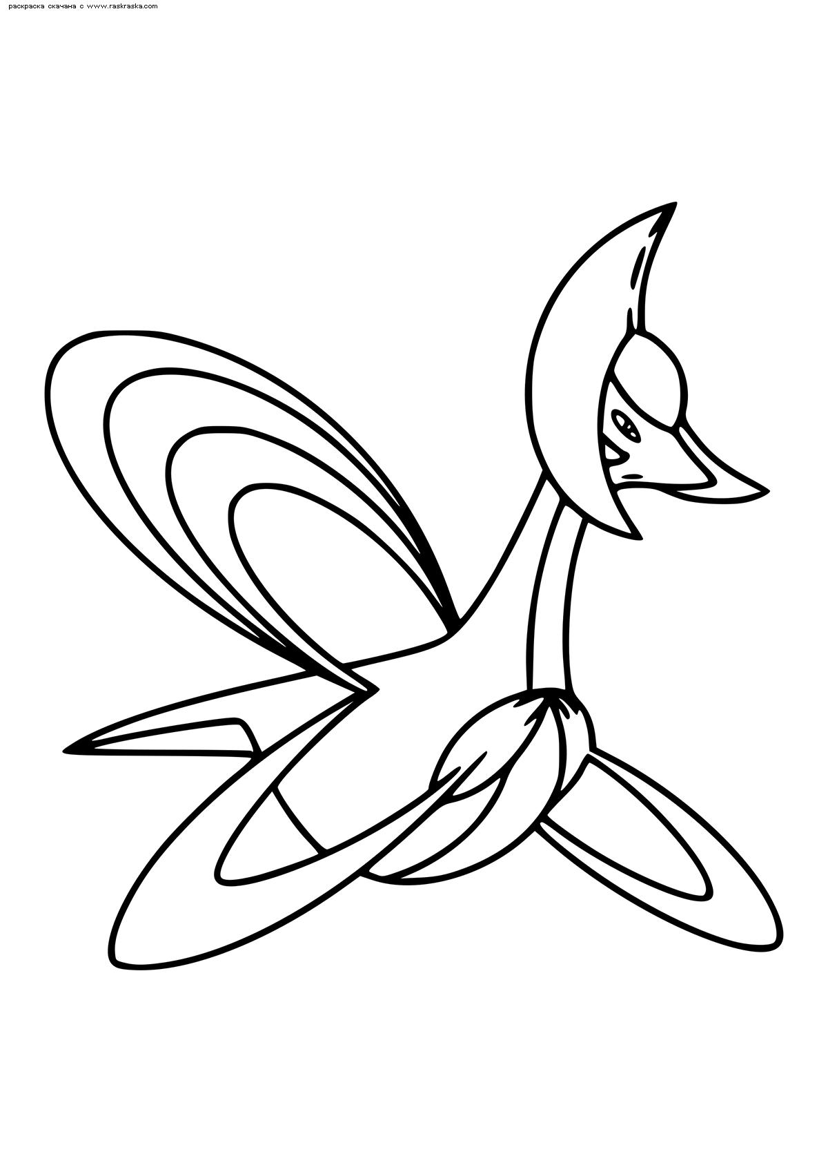 Раскраска Легендарный покемон Кресселиа (Cresselia). Раскраска Покемон