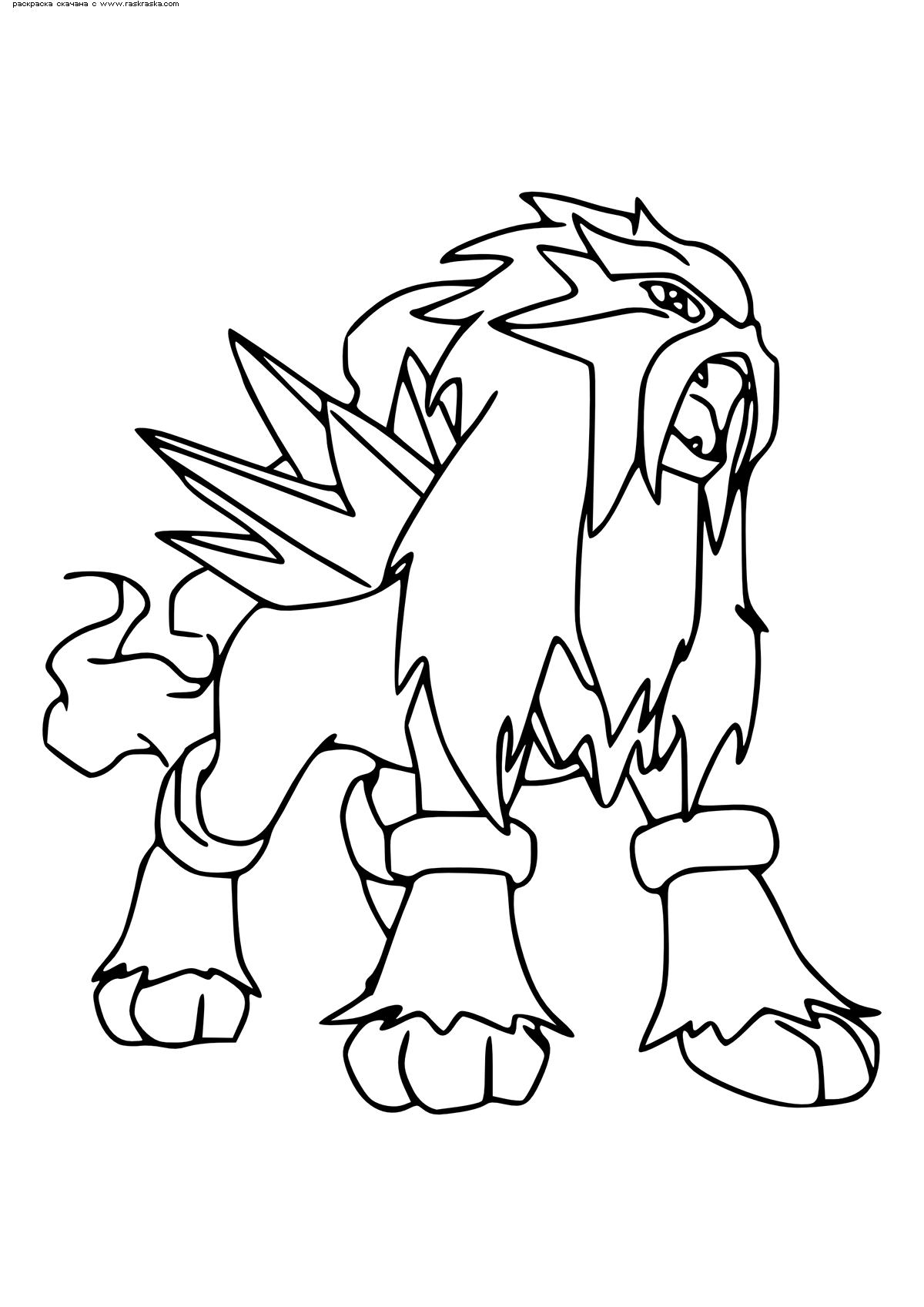 Раскраска Легендарный покемон Энтей (Entei). Раскраска Покемон
