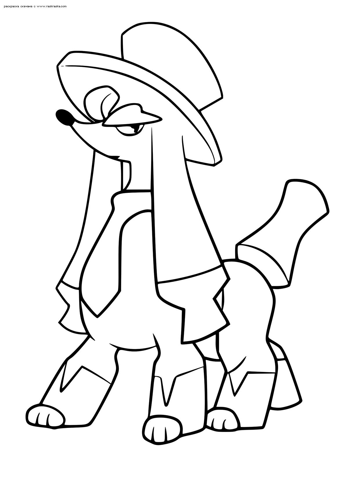 Раскраска Покемон Фурфу (Furfrou). Стиль денди. Раскраска Покемон