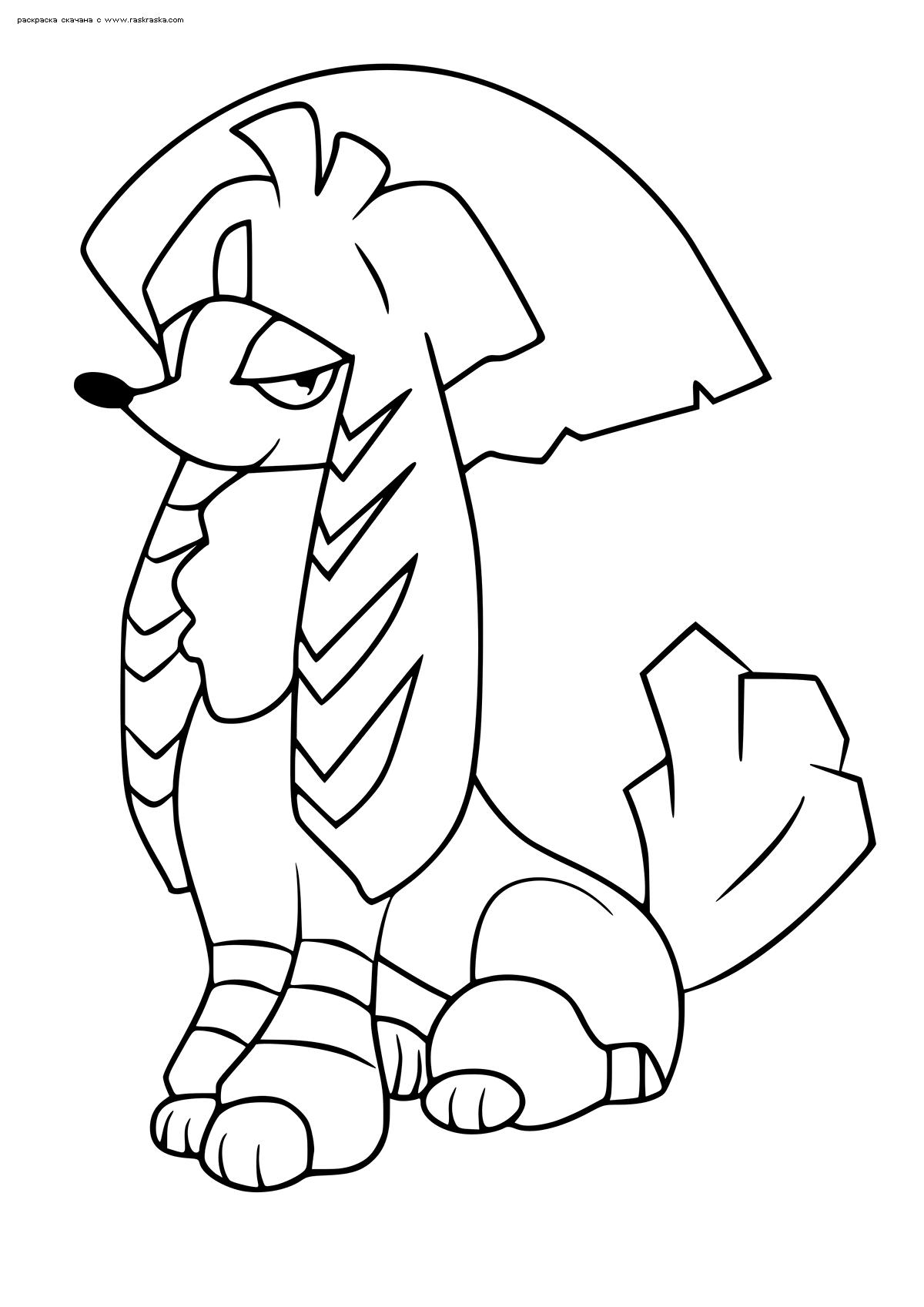 Раскраска Покемон Фурфу (Furfrou). Стиль кабуки. Раскраска Покемон