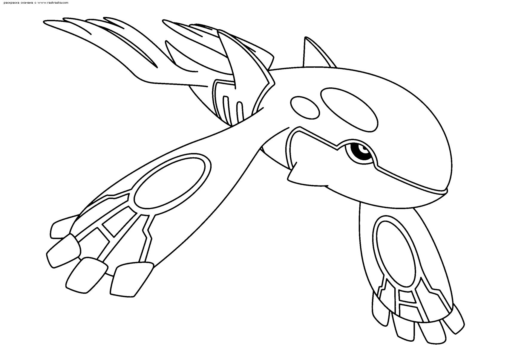 Раскраска Легендарный покемон Кайогр (Kyogre). Раскраска Покемон
