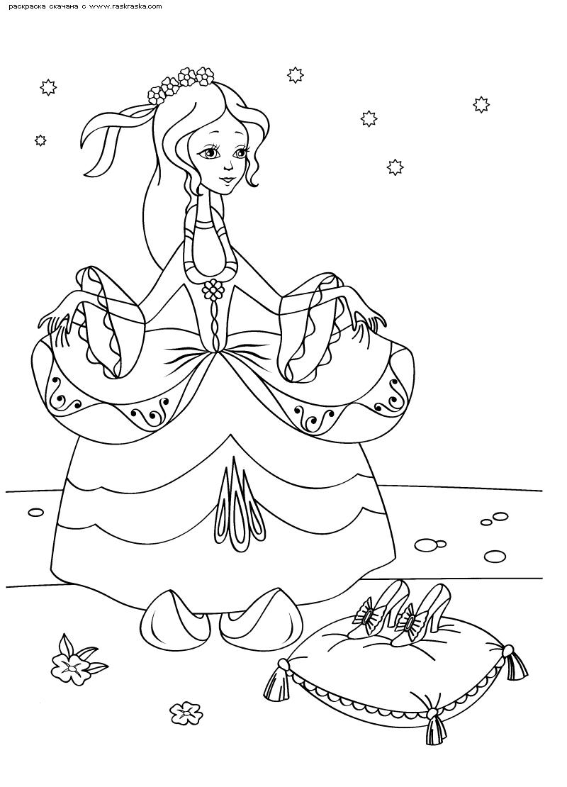 Раскраска Золушка и хрустальные туфельки. Раскраска Золушка готова ехать на бал, Золушка в красивом платье раскраска