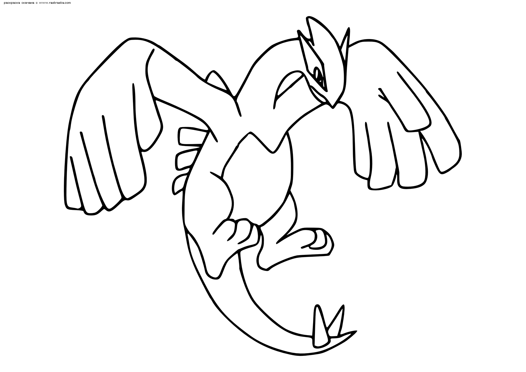 Раскраска Легендарный покемон Лугиа (Lugia). Раскраска Покемон