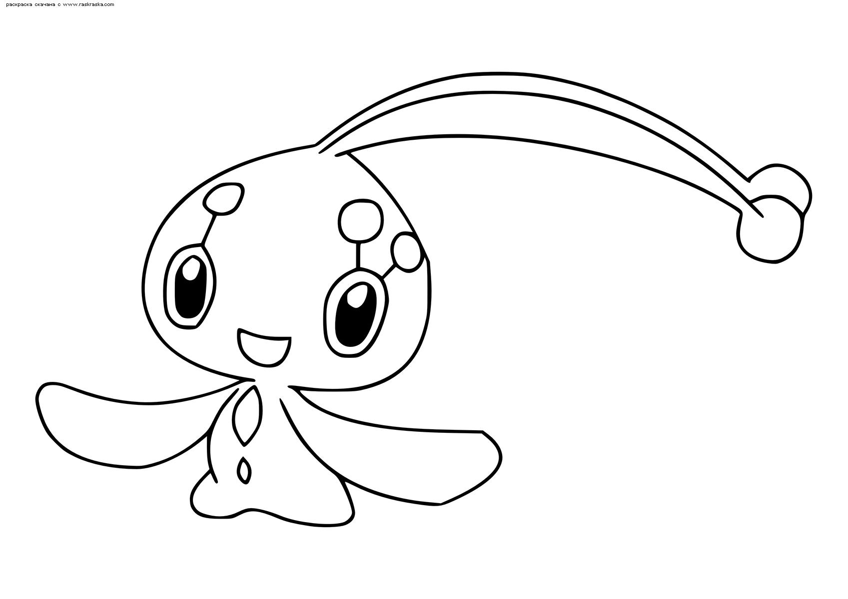 Раскраска Легендарный покемон Манафи (Manaphy). Раскраска Покемон