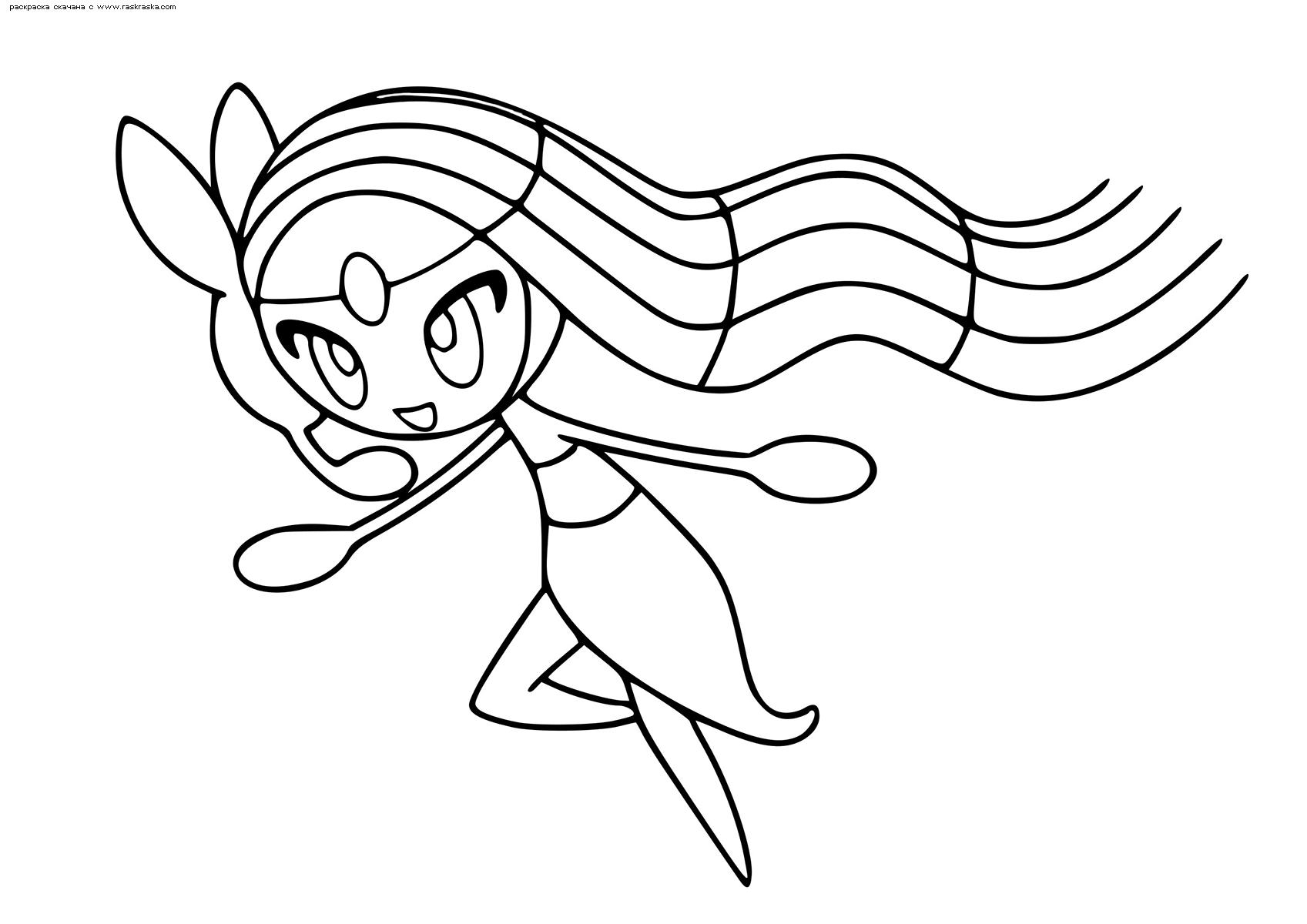 Раскраска Легендарный покемон Мелоетта (Meloetta). Раскраска Покемон