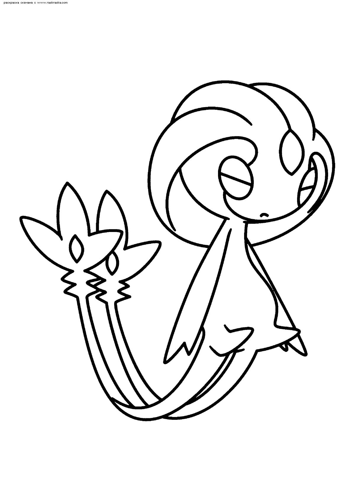 Раскраска Легендарный покемон Юкси (Uxie). Раскраска Покемон