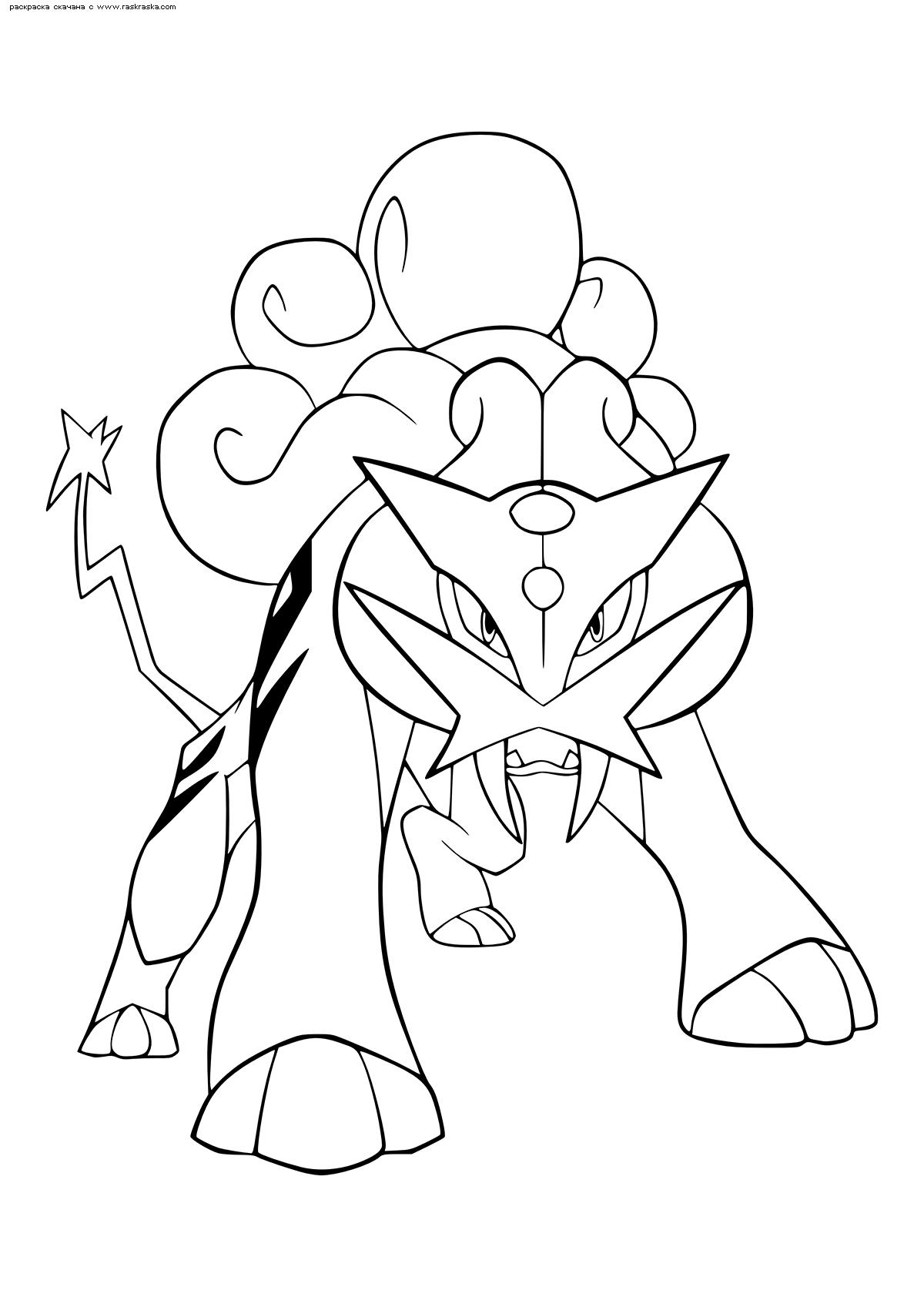 Раскраска Легендарный покемон Райкоу (Raikou). Раскраска Покемон