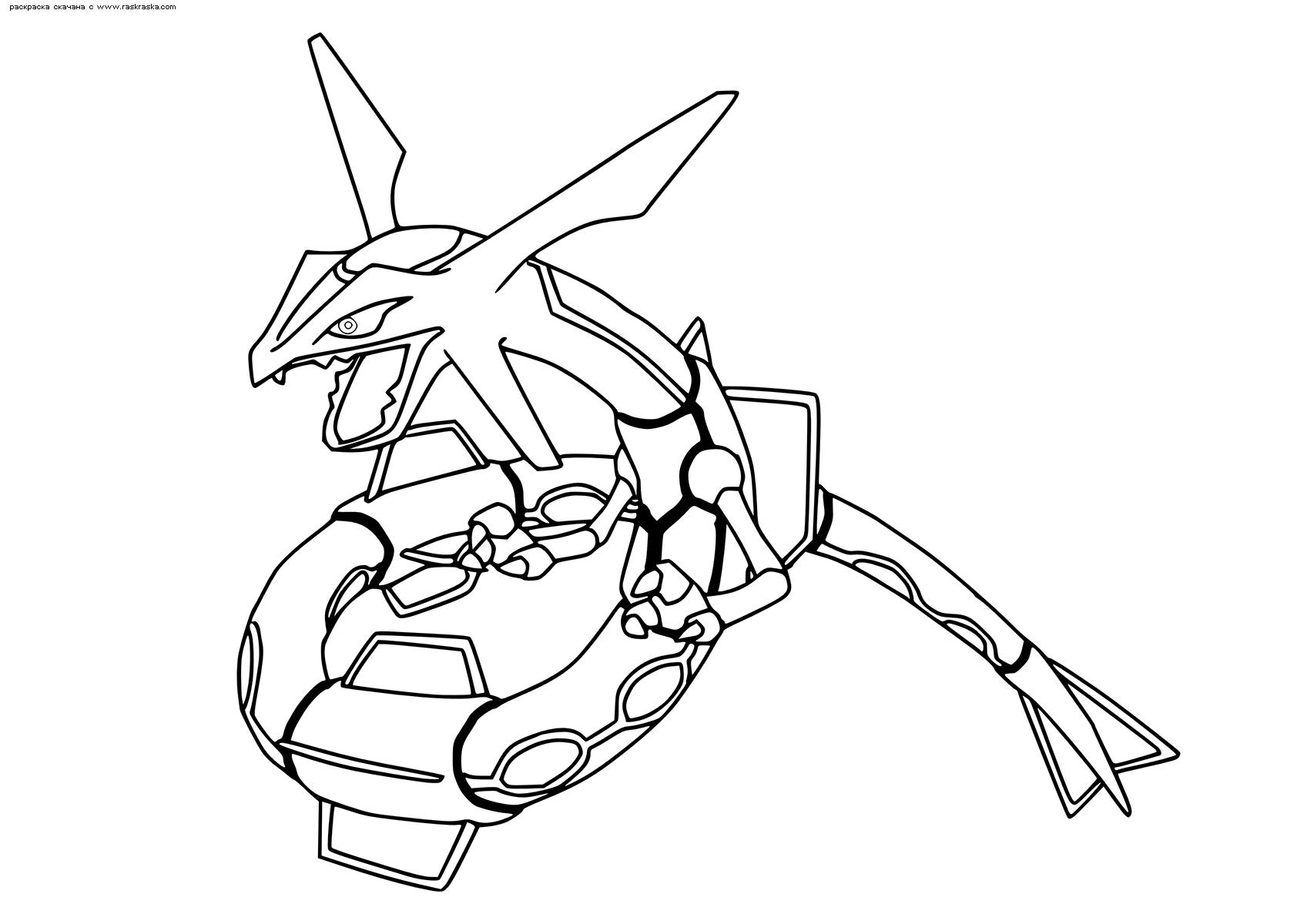Раскраска Легендарный покемон Райкваза (Rayquaza). Раскраска Покемон