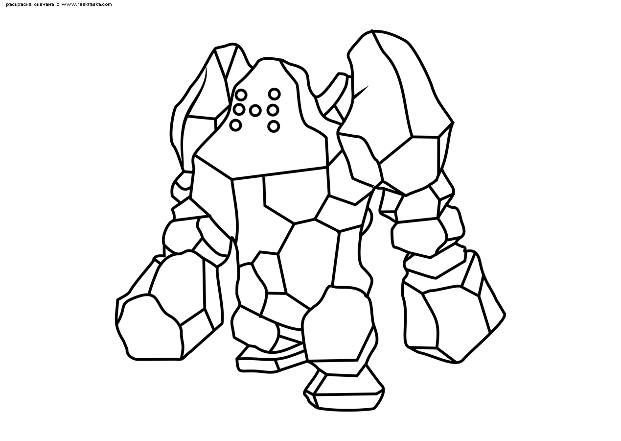 Раскраска Легендарный покемон Реджирок (Regirock). Раскраска Покемон