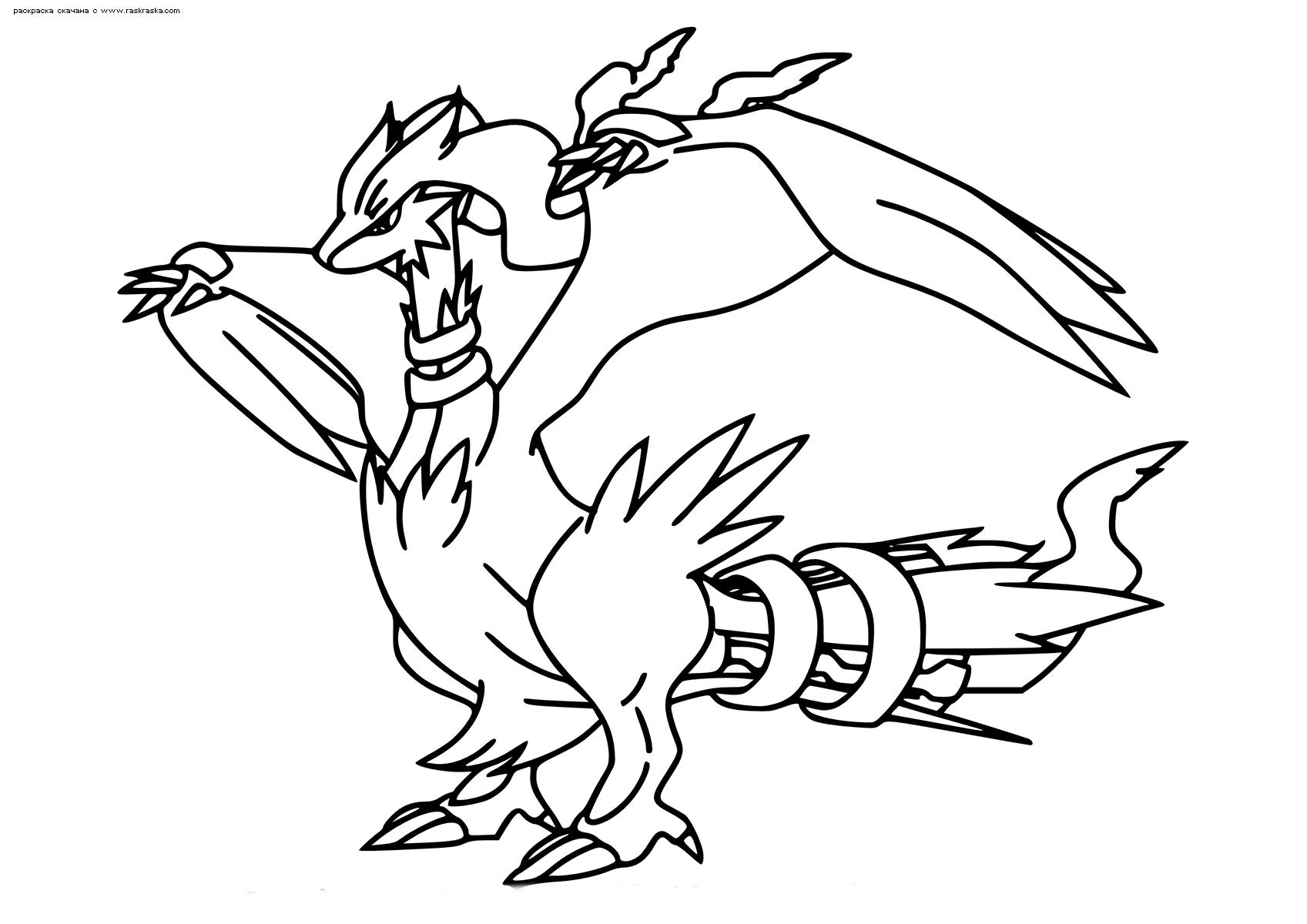 Раскраска Легендарный покемон Реширам (Reshiram). Раскраска Покемон