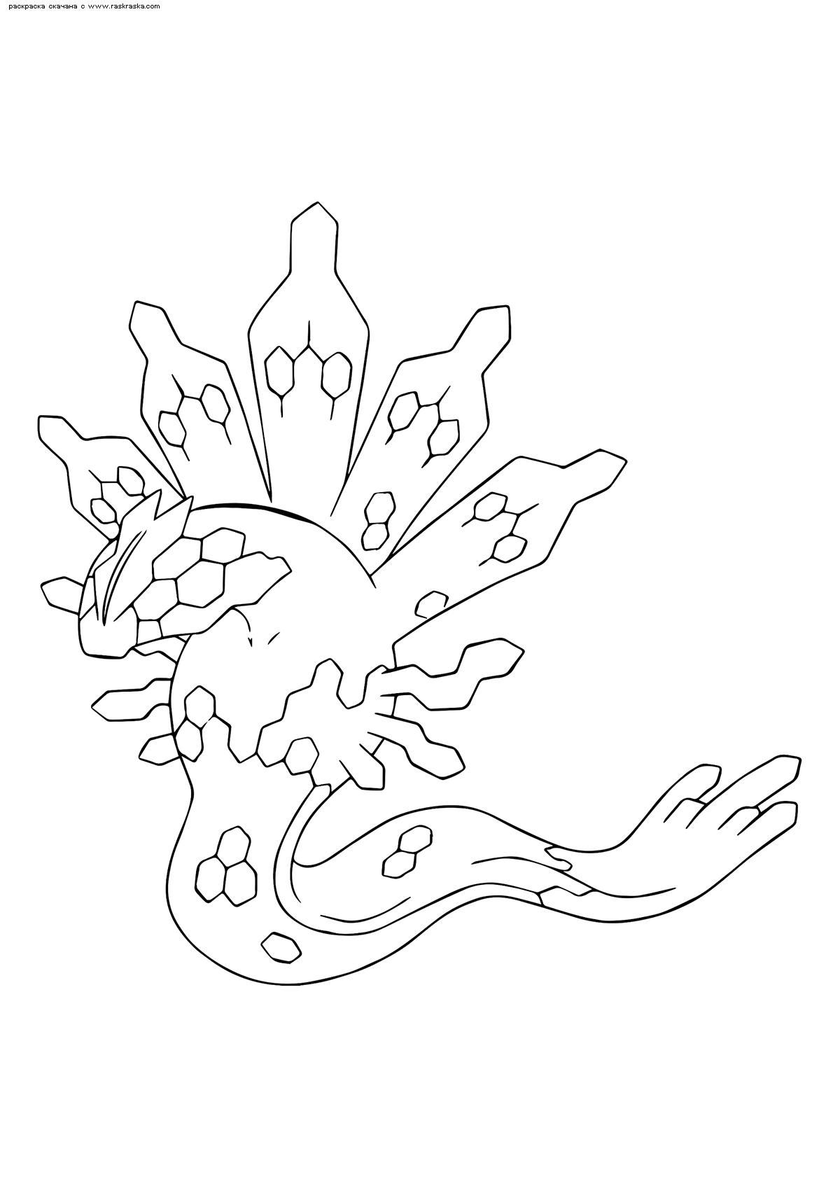 Раскраска Легендарный покемон Зайгард (Zygarde). Раскраска Покемон