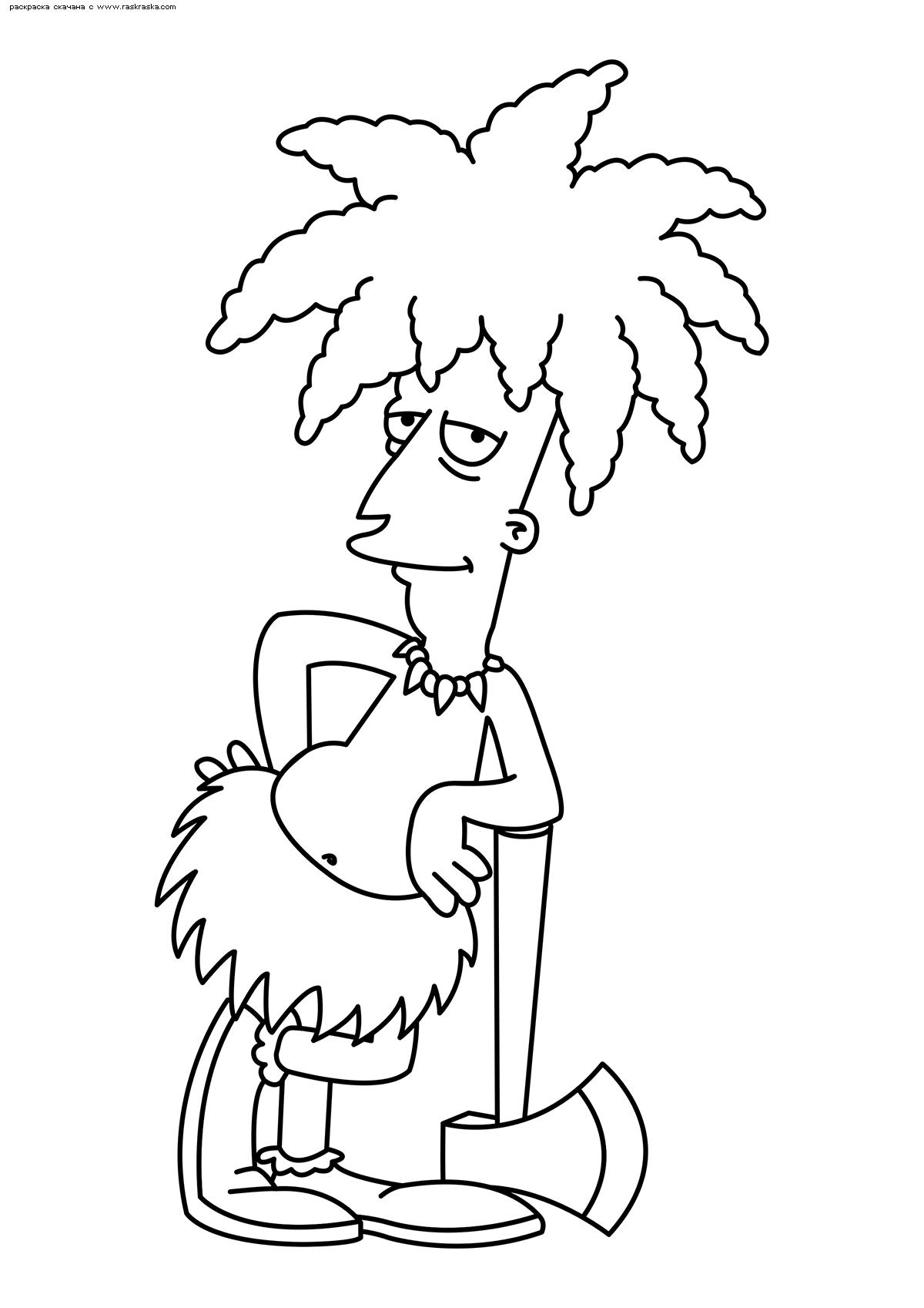 Раскраска Заклятый враг Барта – Сайдшоу Боб. Раскраска Симпсоны