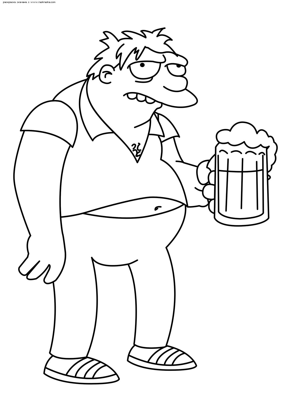 Раскраска Спрингфилдский пьяница Барни Гамбл. Раскраска Симпсоны, пиво