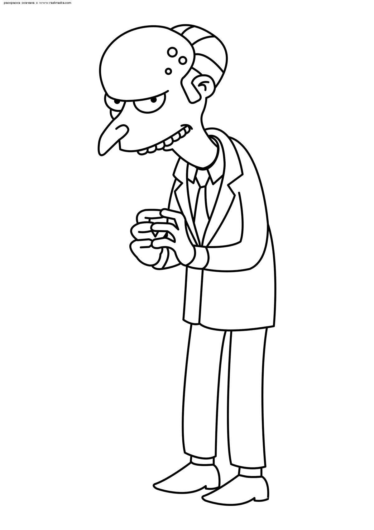 Раскраска Мистер Бёрнс. Раскраска Симпсоны