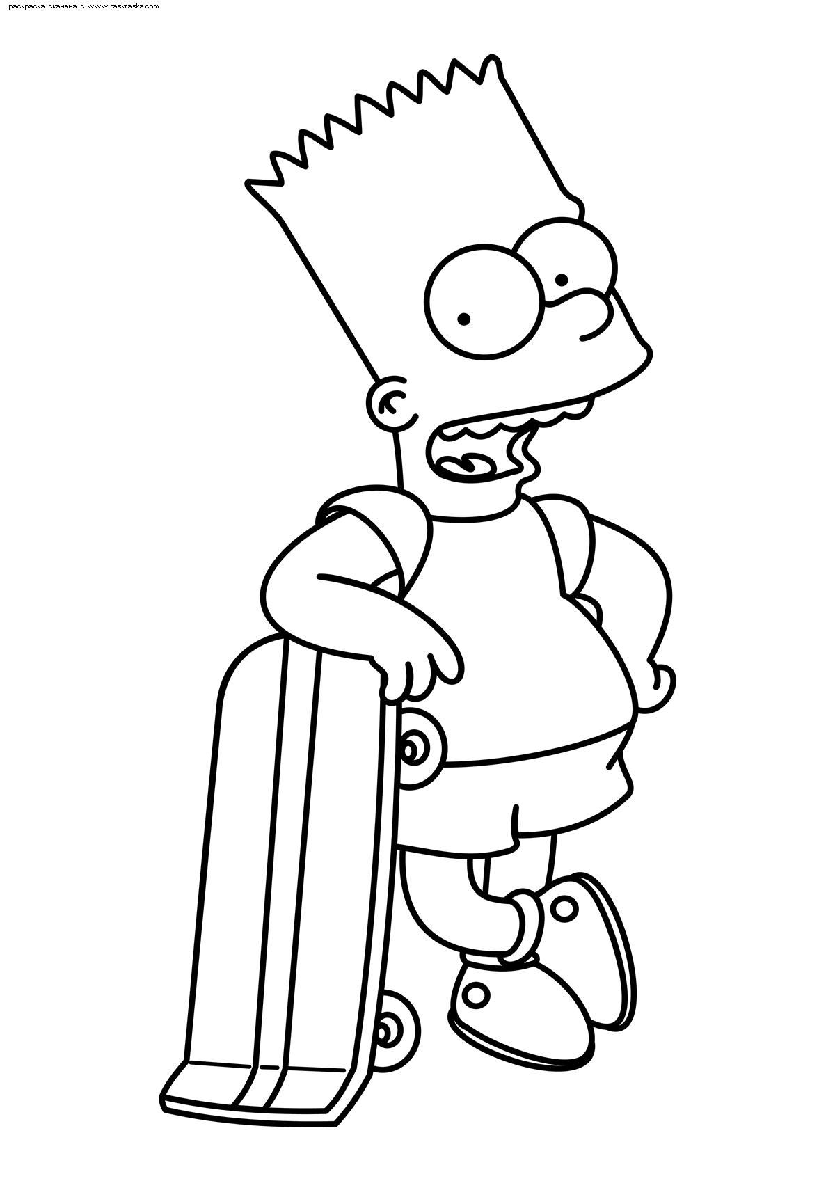 Раскраска Барт Симпсон. Раскраска Симпсоны