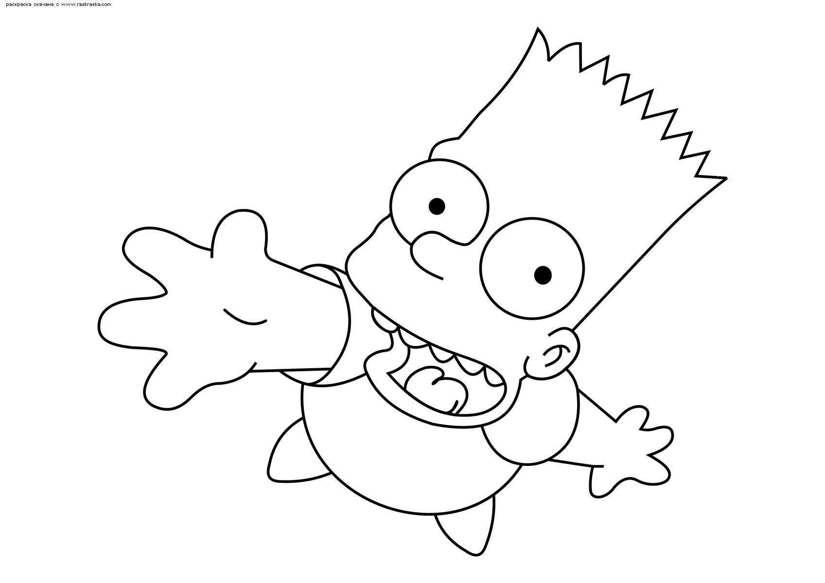 Раскраска Барт. Раскраска Симпсоны