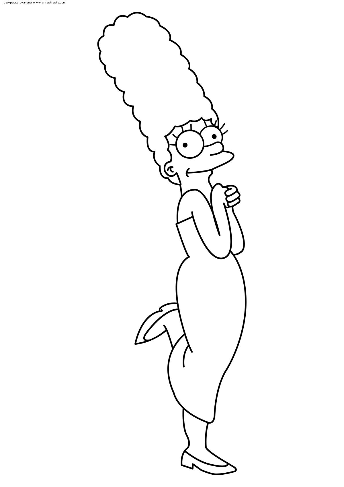 Раскраска Мардж Симпсон. Раскраска Симпсоны