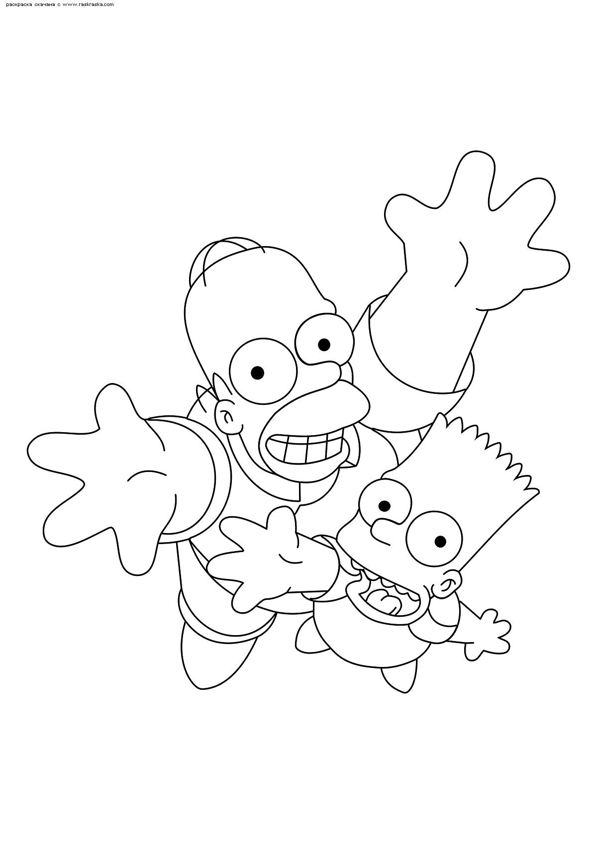 Раскраска Гомер и Барт. Раскраска Симпсоны