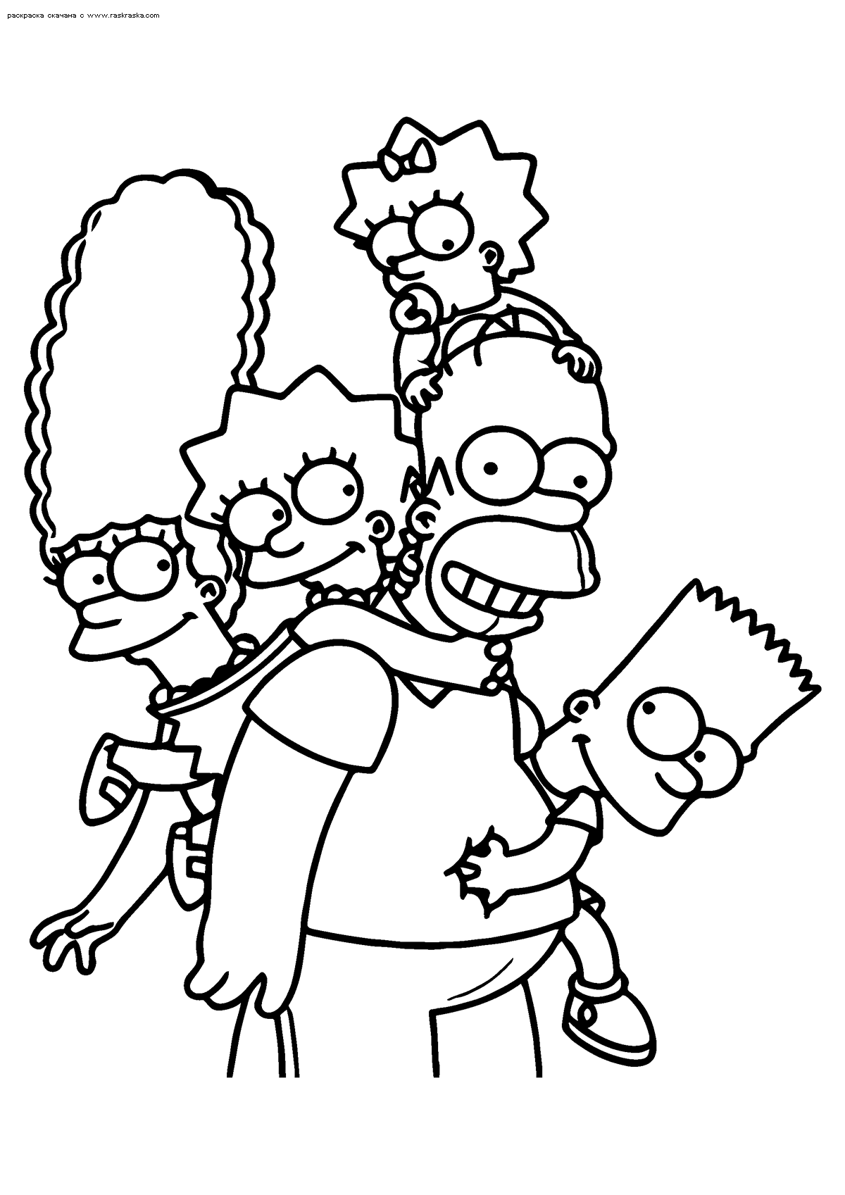 Раскраска Семейство Симпсонов. Раскраска Симпсоны, семья